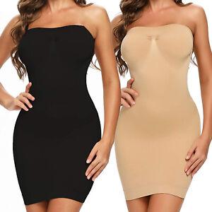 Women Strapless Shapewear Tummy Control Seamless Slip Under Dress Body Shaper