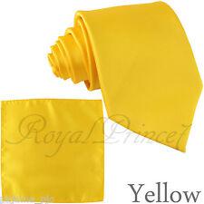 Brand New Men's Yellow Neck tie and Pocket Square Hankie Set Formal Wedding 100J