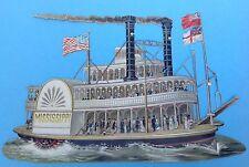 28cm breite geprägte gestanzte Oblate Schaufelraddampfer Missisippi Schiff ~1860