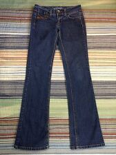 XOXO Hippie Low Rise Flare Distressed Faded Blue Denim Jeans Size 3/4 (27x32)