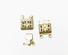 Solid Brass 15x10mm 2 Strand Filigree Box Clasp Findings • Q20 • 37550