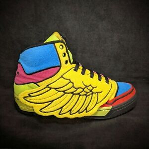 RARE~Adidas JEREMY SCOTT WINGS JS Oby0 Sneakers CHENILLE Shoes Men's Size US 8