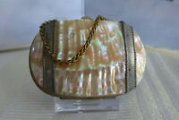 Antique Victorian Era Mini Abalone Coin Purse with Metal Chain