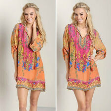 Women's Boho Paisley Print Casual Oversized Blouse Hippie Summer Tunics Dresses