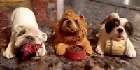 "SANDICAST ""PESKY PEEPERS""DOG FIGURINES: RED CHOW/ST.BERNARD/BULLDOG"