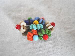Czech glass floral beads brooch
