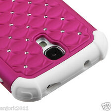 Samsung Galaxy S4 i9500 Hybrid Spot Diamond Hard Case Skin Cover Hot Pink White