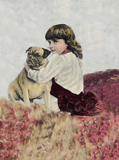 PUG CHARMING DOG GREETINGS NOTE CARD BEAUTIFUL DOG & LITTLE GIRL SIT IN HEATHER