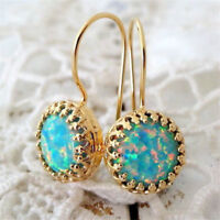 Opal Hook Earrings Women Jewelry Trendy Anniversary 18K Gold Filled Dangle Drop