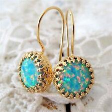 Opal Hook Earrings Trendy Anniversary 18K Gold Filled Dangle Drop Women Jewelry