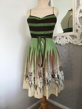 BCBG MAXAZRIA Lime Brown Pleated Cotton Strappy Skater Dress XS UK 6
