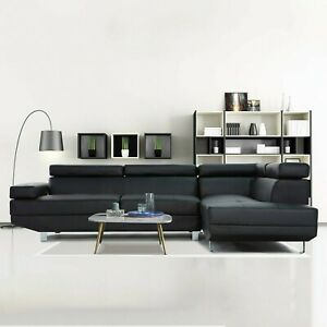 2 Piece Modern Contemporary Black Faux Leather Sectional Sofa with Chrome Legs
