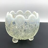 Vtg NORTHWOOD Pearl Flower Clear Opalescent Footed Candy Nut Bowl