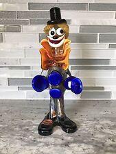 Vintage Murano Art Glass Clown Figurine Gold Flecks Orange and Blue Italy