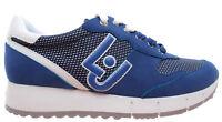 LIU JO Milano Gigi 02 Run Cow Suede Mesh Deep Blue Bleu Chaussures Femme Sneaker