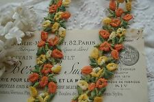 VINTAGE SCHIFFLI YELLW ORANGE FLOWER APPLIQUE LACE RIBBON TRIM FRENCH DOLL BEAR