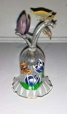 Vintage Hand-painted Clear Bell With Butterfly And Flower