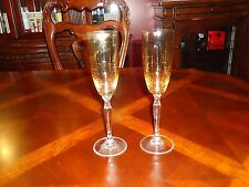 """LOT SET 2, Wine Champagne Toasting 9 1/4"""" Crystal Glass Yellow Gold Flute"""