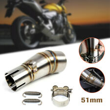 51MM Motorcycle Scooter Exhaust Middle Pipe Link Stainless Muffler Mid Section
