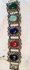 "Vtg Dancraft  1 1/2"" Wide Heavy Sterling Silver Bracelet Semi Precious Stones"