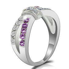 Purple Amethyst &CZ Criss Cross Band Ring White Gold plated PARTY RING Size 6-10