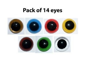 14x MIX colour 10mm 16mm 20mm Plastic Safety Eyes Bear Doll Animal Puppet Craft