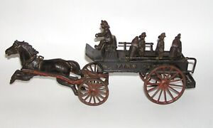 Rare Ives Phoenix Cast Iron Horse Drawn FIRE PATROL Wagon NO RES (DAKOTApaul)