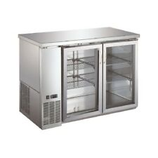 """Double Glass Door Commercial Back Bar Cooler Stainless Steel - 48"""""""