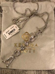 Kendra Scott Silver  Lustre Glass Gracelynn Shapes Y Pendant Necklace NWT $128