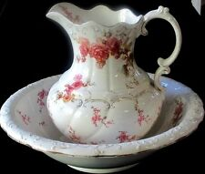 ANTIQUE PITCHER AND BOWL - VICTORIAN ERA - BEAUTIFUL VINTAGE COTTAGE LOOK!