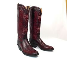 "T.O. Stanley Custom Cowboy Boots - Burgundy Womens Size 9M 15"" Tall - Handmade"