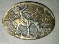 Vintage Brass Native American Horse Scenery Belt Buckle Indian