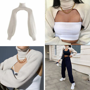 Autumn Women's Ladies High Neck Blouse Sexy Exposed Navel Long-sleeved Sweater