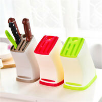 1x New Kitchen Multifunction Plastic Knife Storage Rack Block Holder Stand FO
