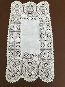 Vintage Cream Crochet Tray Cloth Rectangle 18 inches by 10 inches