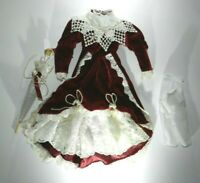 "Fancy Dark Red Velvet Dress with High Collar & White Lace & Parasol for 16"" Doll"