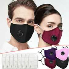 4pcs Washable Reusable Cotton Face Masks With Respirator PM2.5 Filter For Adult