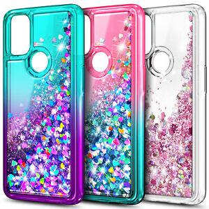 For OnePlus Nord N100 / N10 5G Case, Liquid Glitter Bling Cover + Tempered Glass