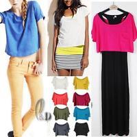 AU SELLER Women's Cotton Scoop Neck Crop Loose Top Blouse Basic Tee T-Shirt T085