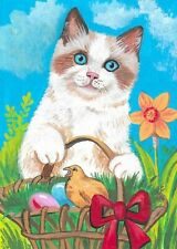 Original Aceo Ryta Ragdoll Cat Painting Spring Garden Easter Chick Miniature Art