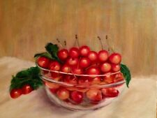 Art Work Painting Cherries Original Oil on Canvas by Artist Maryam Ghazi