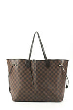 Louis Vuitton Womens Damier Ebene Neverfull GM Tote Handbag Brown Coated Canvas
