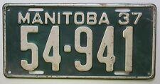 Manitoba 1937 License Plate HIGH QUALITY # 54-941