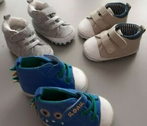 3 x Baby boy shoes. All 3-6mths. All are used.