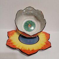 Vintage Lotus Flower Bowl Mayonnaise Sauce Saucer Plate Japan Orange Lusterware