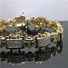 10K Yellow Gold Men's Bracelet With 1.20CT Brilliantly Paved Diamond