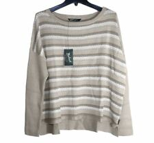 Woolrich - Womens XL - NWT$75 - Beige/White Striped Arcana Cotton Sweater