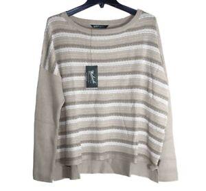 Woolrich - Womens XL - NWT$75 - Beige/White Striped Arcana Cotton Sweater