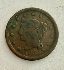 1854- Intricately Carved U.S. Large Cent Important Artist, See Other Coins