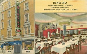 New York Chinese Restaurant Ding HO 1940s Andres Products Postcard 21-6656